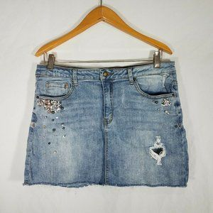 ANGEL KISS Mini Denim Skirt Size XL Ripped Raw Hem